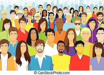 人們, 种族, 人群, 暫存工, 臉, 組, 多种多樣, 大