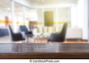 人們, 空, 背景, 木制, 一些, 桌子, 會議, 迷離