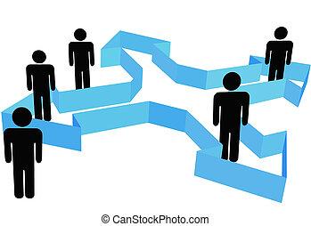 人們, 符號, 點, 箭, 組織, 方向, 新