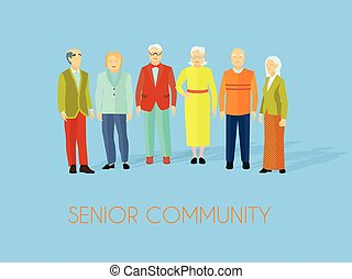人們, 組, 社區, 年長者, 套間, 海報
