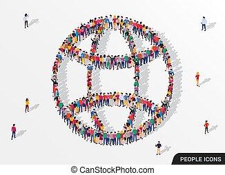 人們, 網際網路, 大, 符號。, 組, 全球, 徵候。, 形式