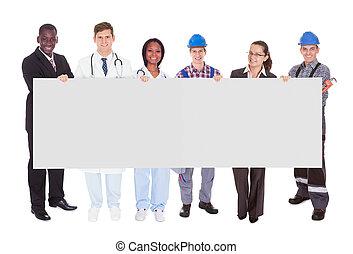 人們, 職業, 各種各樣, 藏品, 空白, 廣告欄, 微笑