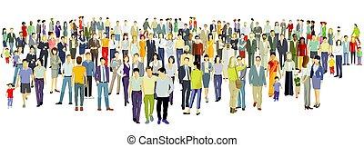 人們, 背景, 組, 大, 白色