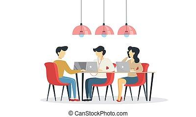 人們, 自由職業者, 空間, coworking, 桌子, 坐