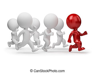 人們, -, 跑, 小, 領導人, 3d