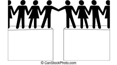 人們, 連接, 加入, 伸手可及的距離, 一起, 組