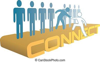 人們, 連接, 加入, 向上, 組, 手, 幫助