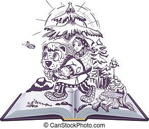 人們, 閱讀, 仙女, 俄語, 插圖, 書, 女孩, 故事, 打開, 熊, childrens, masha