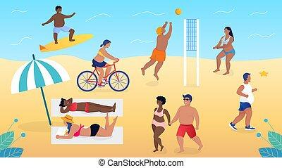 人們, 閱讀, 卡通, 插圖, 海灘排球運動, 他們自己, 走。, 沒有, 書, 他們, 活, 完全地, 套間, 放松, complexes, 矢量, 接受, 超重, 玩, 美麗, 情人