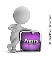 人們, app, -, 小, 圖象, 3d