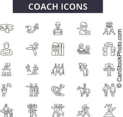 人們, illustration:, 教練, 教練, 集合, 訓練, 教練, outline, 概念, vector., 管理, 線, 事務, 簽署, 圖象