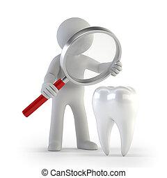 人們, lupe, -, 牙齒, 小, 3d