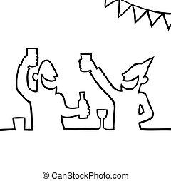 人們, partying, 二, 喝