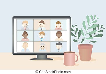 人們, vector., 事務, 在網上, 影像, 工作, concept., 遙遠, 會議