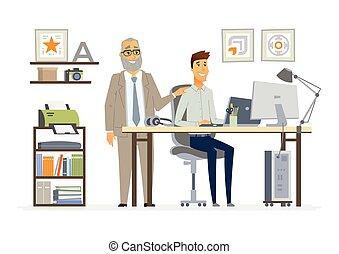 人員, -, 監督, 事務, 矢量, 卡通, 插圖, 字符, 現代