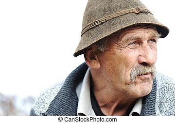 人物面部影像逼真, 藝術, 灰色, 照片人, 老年, 小胡子