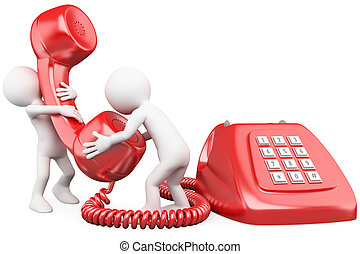 人談論, 電話, 3d, 小