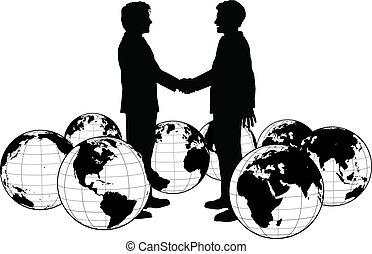 人 事務, 握手, 全球, 協議
