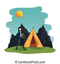 人, 區域, 露營, 年輕