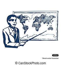 人, 地圖, 世界