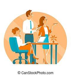人, 工作, 辦公室。, 事務, 女孩, 二, 過程