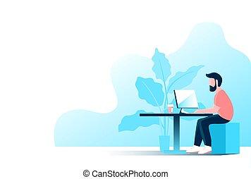 人, 工作, 電腦, 辦公室。, 年輕
