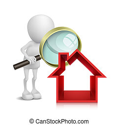 人, 房子, 檢查, 玻璃, 擴大, 3d
