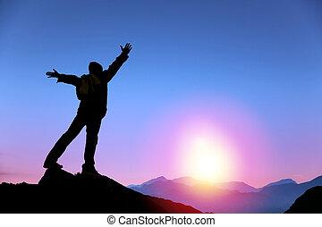 人, 日出, 山, 觀看站, 頂部, 年輕