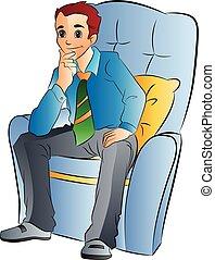 人, 椅子, 軟, 插圖, 坐
