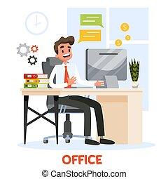 人, 衣服, 書桌, 工作, 坐