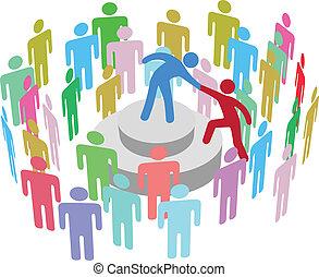 人, 講話, 組, 幫助, 領導人