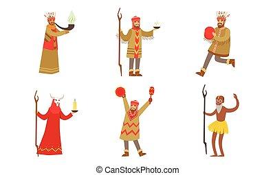 人, illustration., 衣服, shamans., 矢量