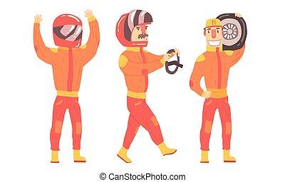 人, suits., 矢量, 橙, 騎手, 插圖