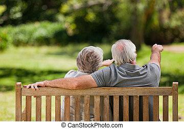 他們, 長凳, 背, 坐, 照像機, 夫婦