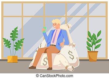 他的, 商人, 袋子, 辦公室, 美元, 堆, 成功, 坐, 錢, 手