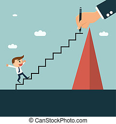 他的, 梯子, 合作, writting, 商人, 良師益友, 容易, 合伙人, 攀登, 小山, concept.