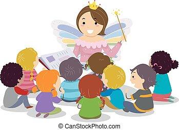 仙女, 孩子, stickman, godmother, 講故事