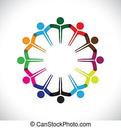 代表, 概念, 人們, graphic-, 配合, 一起。, 孩子, &, 也, 統一, 雇員, 网絡, 玩, 差异, 插圖, 會議, 手, 孩子, 這, 圖象, 等等, 矢量, 罐頭, 或者