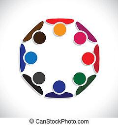 代表, 概念, 人們, graphic., interaction-, 工人, 也, 雇員, 圈子, 差异, 鮮艷, 插圖, 統一, 會議, 孩子, 這, 一起, 玩, 等等, 矢量, 罐頭, 或者