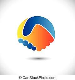 代表, 概念, 人們, shake., 合作, &, -, 手勢, 也, 統一, 新, 友誼, 商業描述, 手, 朋友, 圖象, 圖表, 這, 問候, 信任, 等等, 矢量, 罐頭, 或者