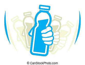 以前, 酸奶, 瓶子, 晃動, 使用