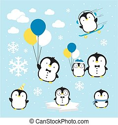 企鵝, 矢量, 漂亮