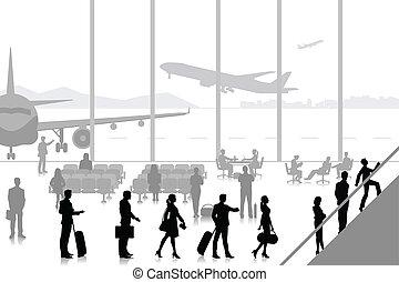 休息室, 機場, 人們