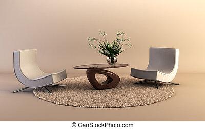 休息室, 風格, 現代的房間