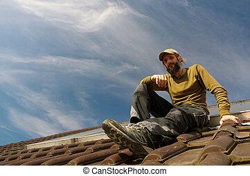 休息, 公然反抗, 屋面工, 頂部, 陽光普照, 屋頂, 天