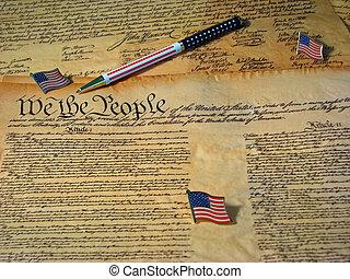 休息, 團結, 憲法, 伴隨, 國家, 旗, 旗, 宣告, pen., 模仿, 獨立