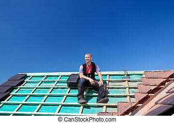 休息, 頂部, 屋面工, 屋頂