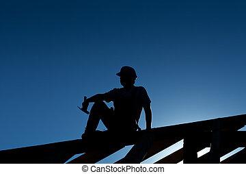 休息, 頂部, 木匠, 屋頂, 或者, 建造者, 結构