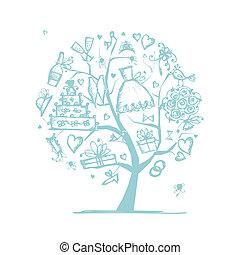 你, 婚禮, 樹, 設計, 概念