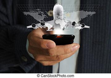 使用, 大約, 生意 打電話, 流動, 旅行, 手, 流, 世界, 人
